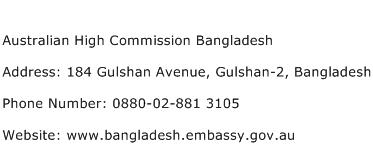 Australian High Commission Bangladesh Address Contact Number