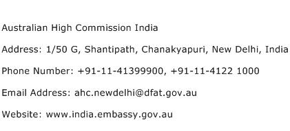 Australian High Commission India Address Contact Number
