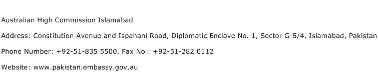 Australian High Commission Islamabad Address Contact Number