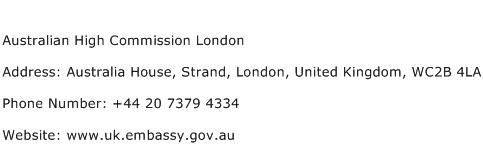 Australian High Commission London Address Contact Number