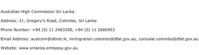 Australian High Commission Sri Lanka Address Contact Number