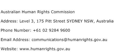 Australian Human Rights Commission Address Contact Number
