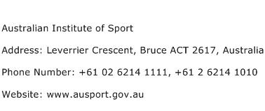 Australian Institute of Sport Address Contact Number