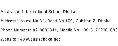 Australian International School Dhaka Address Contact Number