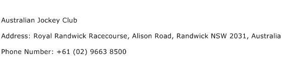 Australian Jockey Club Address Contact Number