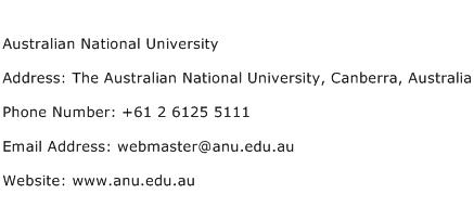 Australian National University Address Contact Number