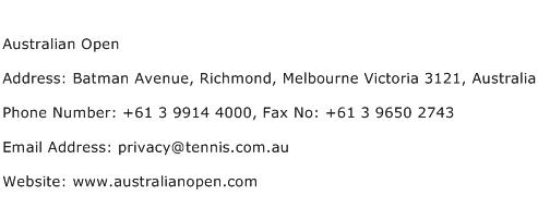 Australian Open Address Contact Number
