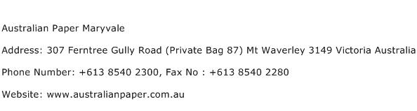 Australian Paper Maryvale Address Contact Number