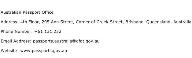 Australian Passport Office Address Contact Number