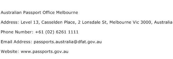 Australian Passport Office Melbourne Address Contact Number