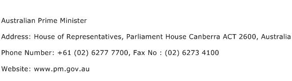 Australian Prime Minister Address Contact Number