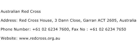 Australian Red Cross Address Contact Number