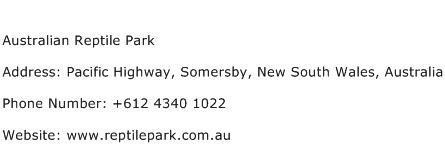 Australian Reptile Park Address Contact Number