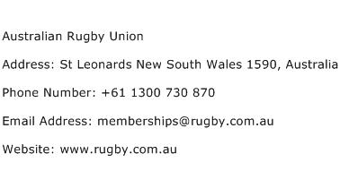 Australian Rugby Union Address Contact Number