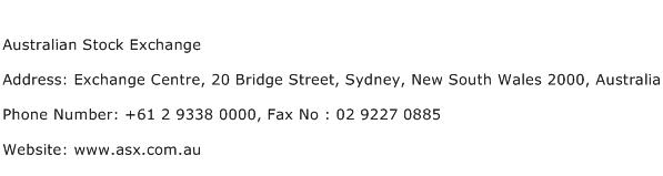Australian Stock Exchange Address Contact Number