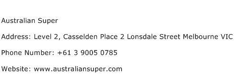 Australian Super Address Contact Number
