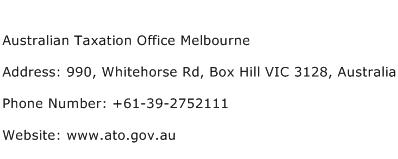 Australian Taxation Office Melbourne Address Contact Number