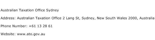 Australian Taxation Office Sydney Address Contact Number