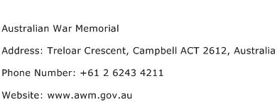 Australian War Memorial Address Contact Number