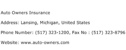 Auto Owners Insurance Address Contact Number