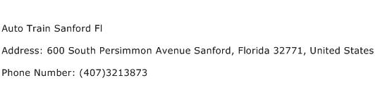 Auto Train Sanford Fl Address Contact Number