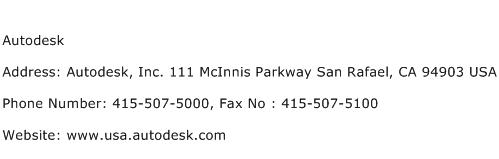 Autodesk Address Contact Number