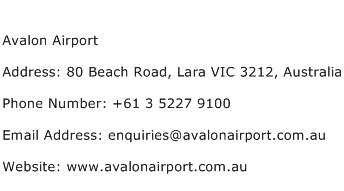 Avalon Airport Address Contact Number