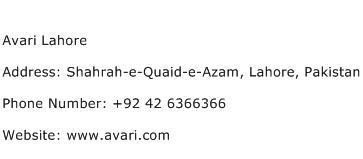 Avari Lahore Address Contact Number