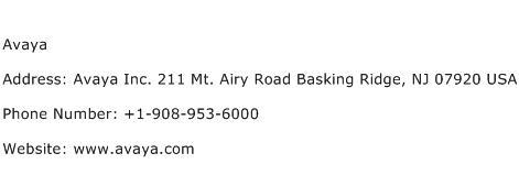 Avaya Address Contact Number