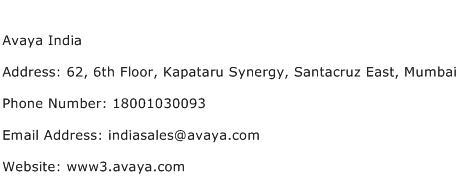 Avaya India Address Contact Number