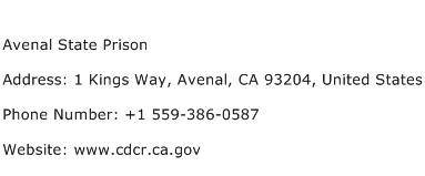 Avenal State Prison Address Contact Number
