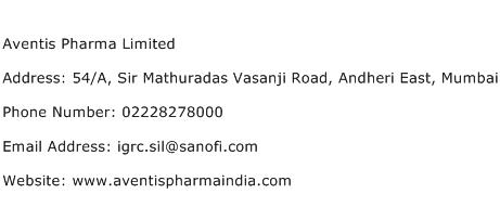 Aventis Pharma Limited Address Contact Number
