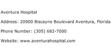 Aventura Hospital Address Contact Number