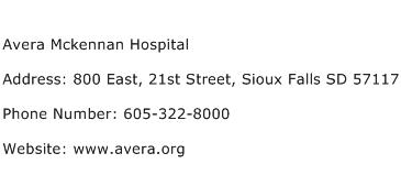 Avera Mckennan Hospital Address Contact Number