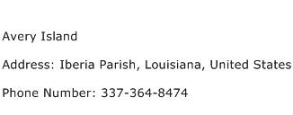 Avery Island Address Contact Number