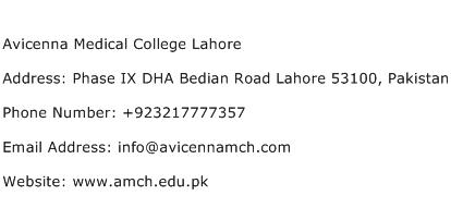 Avicenna Medical College Lahore Address Contact Number