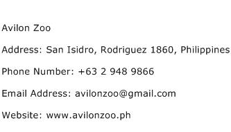 Avilon Zoo Address Contact Number
