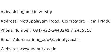Avinashilingam University Address Contact Number