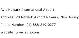 Avis Newark International Airport Address Contact Number