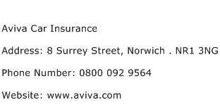 Aviva Car Insurance Address Contact Number