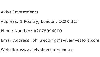 Aviva Investments Address Contact Number