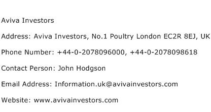 Aviva Investors Address Contact Number