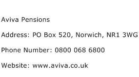 Aviva Pensions Address Contact Number