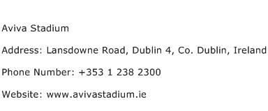 Aviva Stadium Address Contact Number