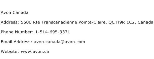 Avon Canada Address Contact Number