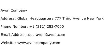 Avon Company Address Contact Number