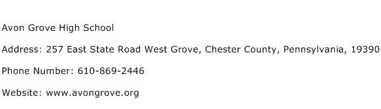 Avon Grove High School Address Contact Number