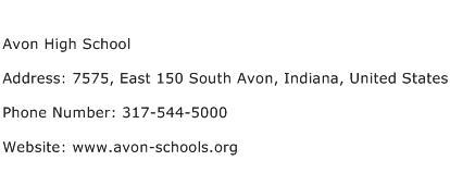 Avon High School Address Contact Number