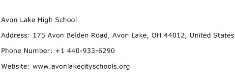 Avon Lake High School Address Contact Number