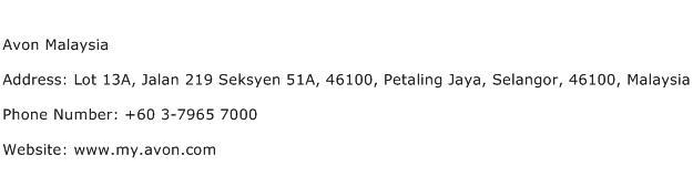 Avon Malaysia Address Contact Number